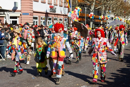 MAINZ, GERMANY - MARCH 7: The Rose Monday Parade (Rosenmontagszug) moves through the city March 7, 2011 in Mainz, Germany. It is the culmination of the annual carnival season. Editorial