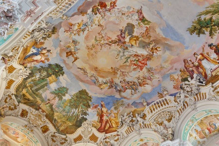 Beautiful ceiling frescos at baroque church in Steinhausen, Germany. Stock Photo - 11249664