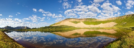 panoramic nature: Stunning mountain lake panorama in the Rocky Mountains, Colorado. Stock Photo