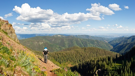 san juans: Hiker on the Colorado Trail climbs up to Kennebec Pass in  the San Juan Mountains near Durango, Colorado.