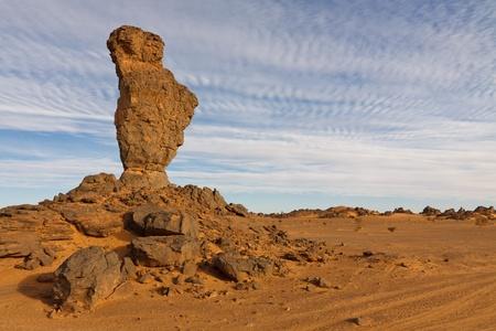 rock formation: Huge balanced rock in the Akakus Mountains, Sahara Desert, Libya.