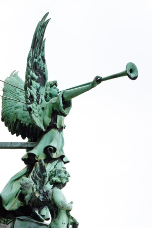 Statue of an angel with trumpet at the Berliner Dom (Berlin Cathedral), Berlin, Germany, Europe Imagens