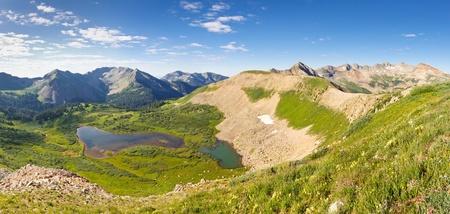 san juans: Panorama of San Juan Mountains scenery in Colorado. View of Taylor Lake from Indian Trail Ridge.
