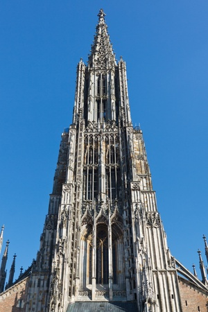 tallest: Ulm Minster  Cathedral (Ulmer Muenster), in Ulm, Germany, has the worlds tallest church steeple. Stock Photo