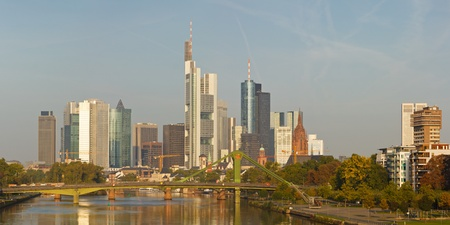 main river: Frankfurts Skyline reflecting in the Main River. Frankfurt is the financial center of Germany. All major German banks are headquartered in the city.