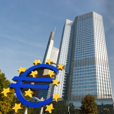 european money: Euro Symbol at the European Central Bank (ECB) in Frankfurt, Germany. Editorial