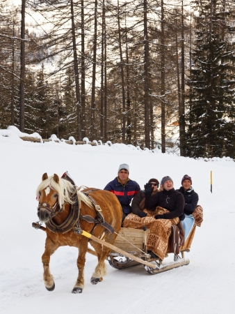 REIN IN TAUFERS, ITALY - JANUARY 23: Tourists enjoy a ride on a horse-drawn sleigh on January 23, 2012, in Rein in Taufers, South Tyrol, Italy. The village is a popular winter vacation destination. Stock Photo - 17069900