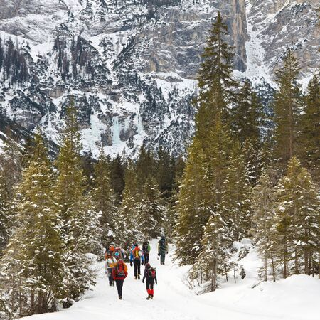 tal: A group of people on a winter hike in the Alps, South Tyrol, Italy. Stock Photo