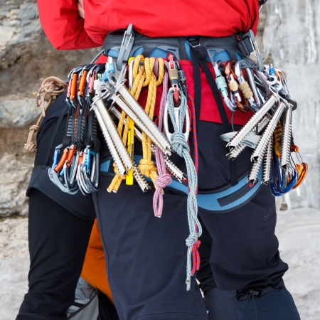 necessary: Ice climber equipped with all the necessary gear.