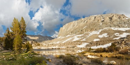 jmt: Alpine Lake Panorama - Picturesque Timberline Lake west of Mount Whitney, Sierra Nevada, California, USA Stock Photo