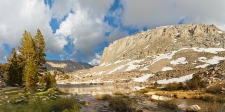 Alpine Lake Panorama - Picturesque Timberline Lake west of Mount Whitney, Sierra Nevada, California, USA Stock Photo