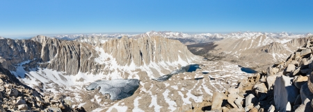 jmt: Sierra Nevada Panorama - Endless snow covered granite peaks viewed from Mount Whitney.
