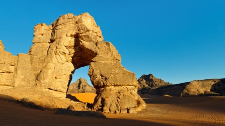 rock arch: Huge Natural Rock Arch in the Sahara Desert.