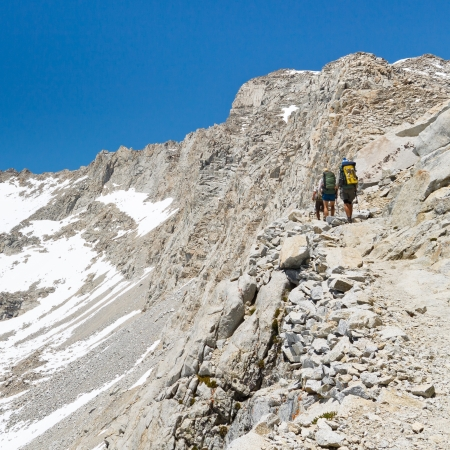Forester Pass, Sierra Nevada - Hikers on their way up to Forester Pass crossing from Sequoia to Kings Canyon National Park, California, USA. Stock Photo - 17172165