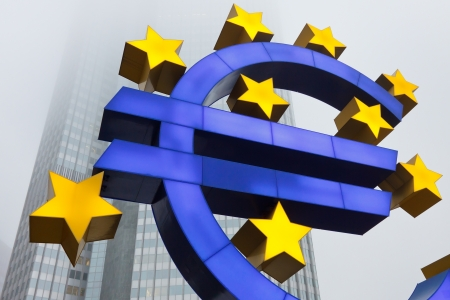 the central bank: Euro Symbol at the European Central Bank (ECB) in Frankfurt, Germany. Stock Photo
