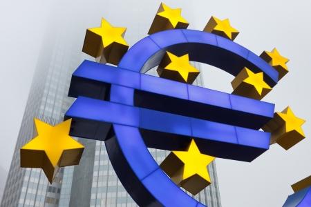 eur: Euro Symbol at the European Central Bank (ECB) in Frankfurt, Germany. Stock Photo