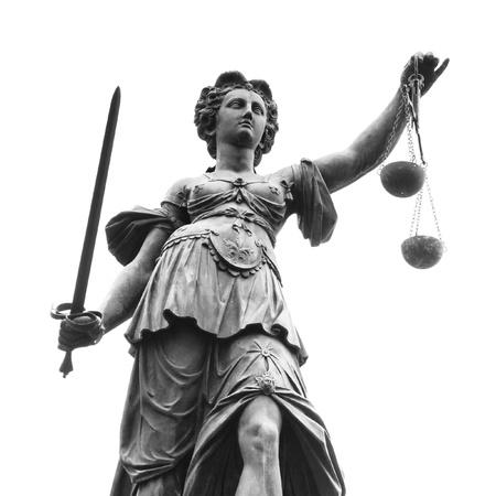 gerechtigheid: Standbeeld van Vrouwe Justitia (Justitia) in Frankfurt, Duitsland
