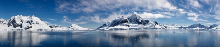 antarctic: Paradise Bay, Antarctica - Panoramic View of the Majestic Icy Wonderland near the South Pole