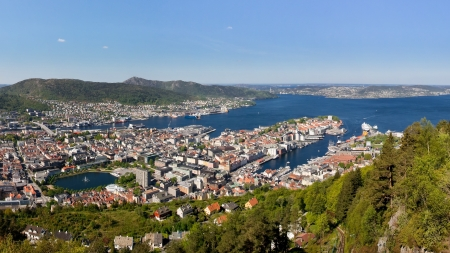Panoramic view of the idyllic city of Bergen, Norway, from Mount Floyen  photo