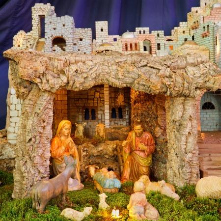 creche: Christmas Nativity Scene - Ni�o Jes�s, Mar�a, Jos� Foto de archivo