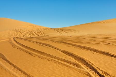 fourwheeldrive: Car tire tracks in the desert - Awbari Sand Sea, Sahara, Libya Stock Photo