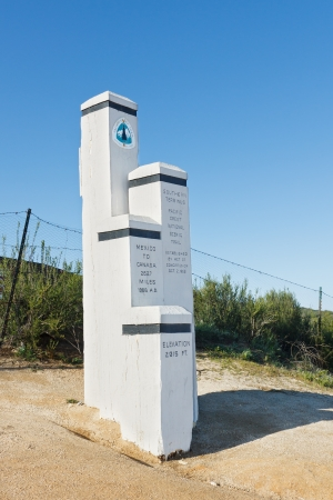 terminus: Monument at the Southern Terminus of the Pacific Crest Trail (PCT) at the USMexico Border near Campo, California, USA
