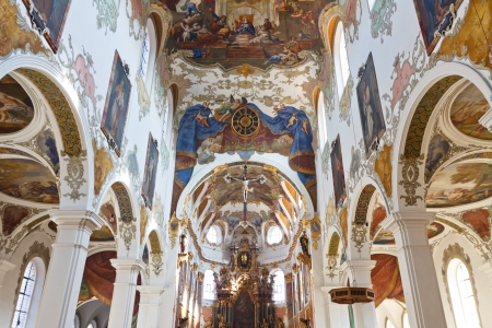 Baroque Church in Biberach, Germany. Highly ornate place of worship with elaborate ceiling frescos. Stock Photo - 17262497