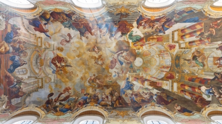 Elaborate ceiling frescos at baroque church in Biberach, Germany. Stock Photo - 17262493