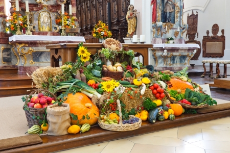 Traditional Harvest Festival Altar (Erntedankaltar) at a catholic church in Germany.