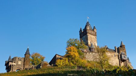 moseltal: Reichsburg Cochem (Cochem Castle) along the Moselle River (Mosel) in Germany.