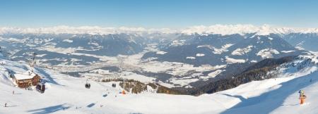 tyrol: Alpine mountain panorama from the summit of Kronplatz Mountain in South Tyrol, Italy. Editorial