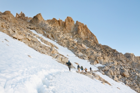 high sierra: Summiting Mount Whitney - Hikers on their way to the summit of Mount Whitney, the highest peak in the continental United States.