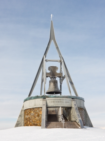 concordia: The Concordia 2000 Peace Bell (Friedensglocke) on the summit of Kronplatz Mountain, South Tyrol, Itay. Stock Photo