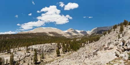 jmt: Sierra Nevada Panorama - West Face of Mount Whitney in the Distance. Beautiful Summer Day. California, USA.