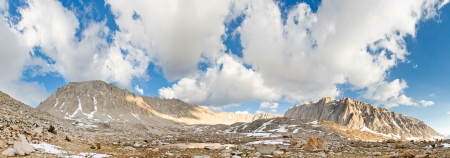 john muir wilderness: Mount Whitney West Face Panorama - Rugged Basin in the High Sierra, California, USA.