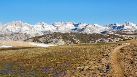 john muir trail: John Muir Trail at Bighorn Plateau in Sequoia National Park, Sierra Nevada, California, USA. Stock Photo