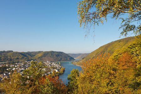 moseltal: River Moselle (Mosel) in Germany on a beautiful autumn  day.