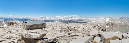 jmt: Mount Whitney Summit Panorama - Mount Whitney Summit Hut and Grand View of the Sierra Nevada Mountains.