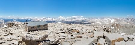 john muir trail: Mount Whitney Summit Panorama - Mount Whitney Summit Hut and Grand View of the Sierra Nevada Mountains.