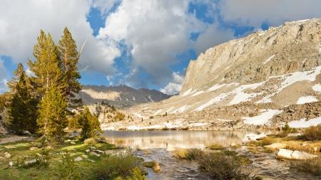 Sierra Nevada Lake Scenery - Idyllic Timberline Lake west of Mount Whitney, Sierra Nevada, California, USA Stock Photo - 17360335