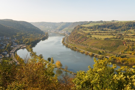 moseltal: Moselle Valley (Moseltal) near Brodenbach, Germany, on a sunny autumn day.