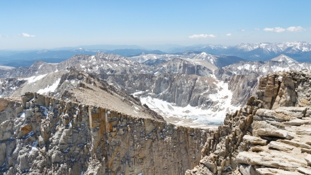 Mount Whitney Summit Scenery. View from the highest peak in the continental United States.