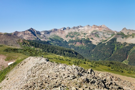 san juans: Spectacular alpine scenery along the Colorado Trail at Indian Trail Ridge in the San Juan Mountains. Stock Photo