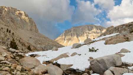 pct: West Face of Mount Whitney, the highest peak in  the continental United States. Stock Photo