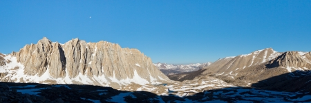 high sierra: Sierra Nevada Peaks Panorama - Morning view of Mount Hitchcock from the west face of Mount Whitney.