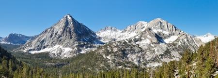 Sierra Nevada Mountain Peaks Panorama. East Vidette, Deerhorn Mountain and West Vidette. California, USA. Stock Photo - 17546235