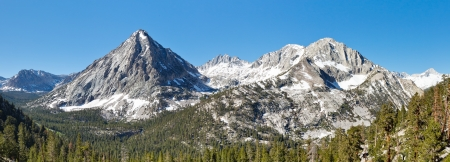jmt: Sierra Nevada Mountain Peaks Panorama. East Vidette, Deerhorn Mountain and West Vidette. California, USA. Stock Photo