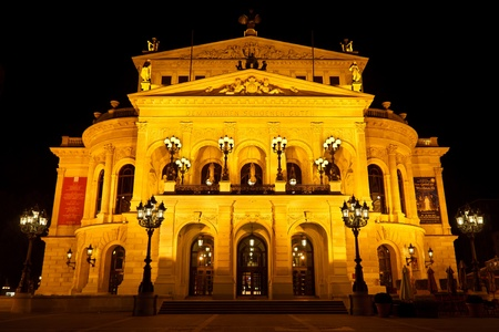 alte: FRANKFURT - OCTOBER 21: Alte Oper at night on October 21, 2011, in Frankfurt. Alte Oper is a concert hall built in the 1970s on the site of and resembling the old Opera House destroyed in WWII.