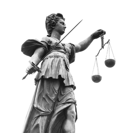 justitia: Statue of Lady Justice (Justitia). Black and White.