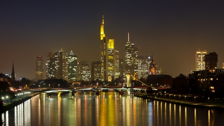 main river: Frankfurt Skyline Panorama at Night reflecting in the Main River, Germany.